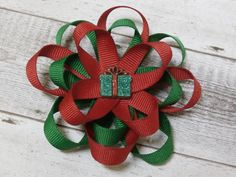 Christmas hair bow looped stacked  red and by SweetPeaBowsBoutique, $5.00