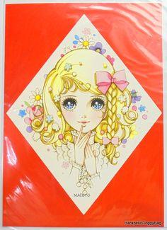 2014 : Retro Japanese Fancy Goods : Retro Shojo Girl Stationery : Illustration Print Sheet - Kawaii Girl WIth Flowers : Illustration by Macoto Takahashi