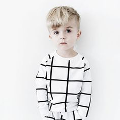 Grid Sweatshirt in White and Black by Hugo Loves Tiki - Junior Edition - 5