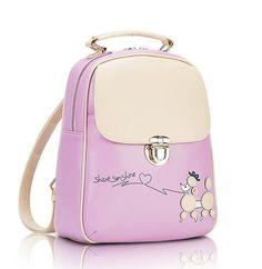 female korean backpack school bicycle cute backpack PU leather for girls New fashion vintage Fresh Students backpack QT-232