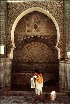 Morocco Fez.Fountain of the Grand Talaa