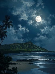 """""""Waikiki Night Sky"""" by Hawaii seascape artist, Roy Tabora. Moon Pictures, Pretty Pictures, Beautiful Moon, Beautiful Places, Symphony Of The Seas, Ciel Nocturne, Shoot The Moon, Belle Photo, Night Skies"""