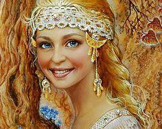 Купить Алмазная вышивка Русская красавица (набор) - алмазная вышивка, алмазная мозаика, алмазная техника