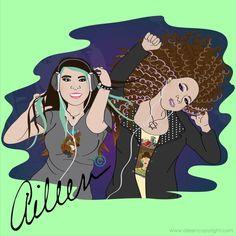 "Adriana Valdez: Adriana and her friend Roxanna Winner of the raffle ""Digital Portraits"" by aileen©"