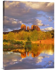 Cathedral Rock Reflected in Oak Creek at Red Rock Crossing, Red Rock State Park Near Sedona, Arizona