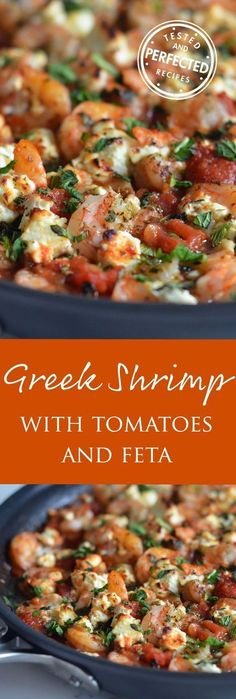 This delicious Greek Shrimp with Tomatoes & Feta - is an easy dinner recipe made almost entirely from pantry and freezer staples, it has quickly become one of my go-to meals! With Greek spiced tomato sauce, fresh shrimp and creamy feta. Shrimp Dishes, Fish Dishes, Seafood Recipes, Cooking Recipes, Healthy Recipes, Zone Recipes, Recipes With Feta, Greek Food Recipes, Italian Recipes