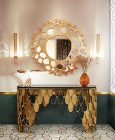 Contemporary living Room Decor – How do I decorate my living room? Contemporary Home Furniture, Contemporary Decor, Luxury Furniture, Furniture Design, Gold Furniture, Kitchen Contemporary, Brass Console Table, Parisian Decor, Parisian Style