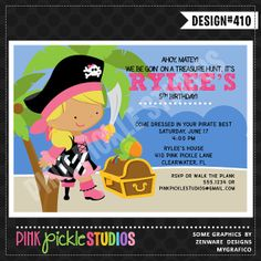 PIRATE GIRL 3 Birthday Party INVITATION or by PinkPickleParties, $10.00
