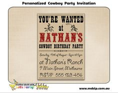 cowboy western party invitation