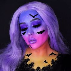 Amazing Halloween Makeup, Halloween Looks, Halloween Face Makeup, Diy Halloween, Purple Halloween, Face Paint Makeup, Makeup Art, Eye Makeup, Makeup Themes