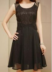 Solid Black Round Neck Sleeveless A Line Dress
