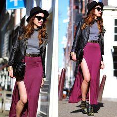 Moschino belt/ burgundy maxi skirt