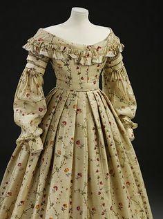 1837-1840 Printed Challis Dress