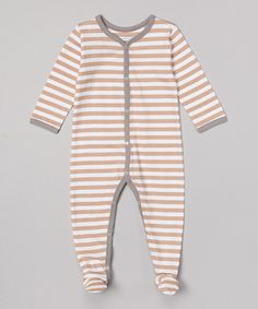 Love this Gray & Tan Stripe Organic Footie - Infant by Kimki Organics by Sage Creek Organics on #zulily! #zulilyfinds