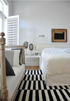rug - black and white - bedroom