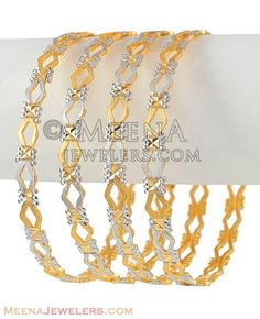 Gold Bangles (Diamond cuts , Rhodium finished) Note: Price and weight mentioned is for 1 pcs bangle only ( 4 pcs shown in picture). Gold Bangles Design, Gold Earrings Designs, Jewelry Design, Jewelry Ideas, Bracelet Designs, Necklace Designs, Gold Jewelry Simple, Stylish Jewelry, Fashion Jewelry