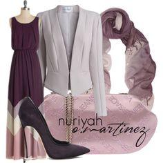 Hijab Outfit by Nuriyah O. Martinez      Purple dress €58-modcloth.com    Amanda Wakeley long sleeve jacket €805-amandawakeley.com    Casadei pumps €330-casadei.com    Versace handbag €140-yoox.com    Chan Luu scarve €95-net-a-porter.com