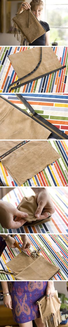 Pochette cuir. Leather clutch! Other one (folded), with a nice finish. http://www.abeautifulmess.com/2012/08/cotton-leather-clutch-purse-diy.html And a perfect finish: http://fourflightsoffancy.blogspot.mx/2011/09/tutorial-that-couldnt-be-leather.html And a perfect finish, added a lining! http://transientexpression.com/tutorial-tuesday-leather-foldover-clutch/