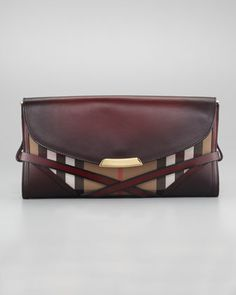 Burberry Leather & Check Clutch