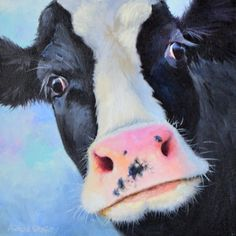 """It's a Holstein Kind of Day is an 12""""x12"""" oil on deep 1 1/2"""" gallery wrap canvas. A beautiful Holstein cow face up close and personal."""