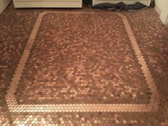 coin floor made from 1p's