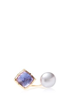 Bella Open Ring In Blue With Pearl by Larkspur & Hawk for Preorder on Moda Operandi