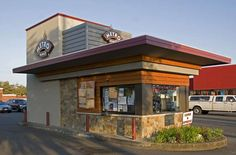 MetroBru Drive Thru Coffee, located at one of the busiest thoroughfares in Eugene, Oregon, was designed to act as a beacon that attracts commuters to get their dose of tru bru experience. Description from tbg-arch.com. I searched for this on bing.com/images