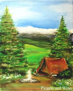"""Happy Camper"" Ah the smell of campfire and pine. Let your inner artist shine at Picasso and Wine in Windsor. Sign up with your friends for a fun night, sip on some wine, and leave with a beautiful painting like this one! www.picassoandwine.com. Painting Classes 