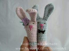 """Marionette da dito """"mamma e papà conigli"""""""