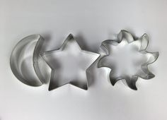 Set of 3 star sun and moon cookie cutter baking supply