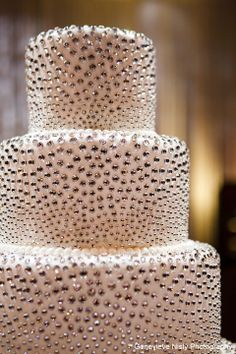 'diamond' studded wedding cake