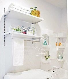 DIY女子の強い味方「棚柱」でデッドスペースを有効活用しよう! - NAVER まとめ Furniture, House, Washroom, Interior, Home, House Inspo, Cabinet, Washing Laundry, Storage