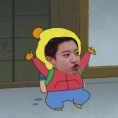 low quality of EXO edit as sinchan ˘ ³˘ Park Chanyeol Exo, Exo Kai, Baekhyun, Exo Ot12, Chanbaek, Exo Lockscreen, Jaehyun Nct, Exo Memes, Kpop