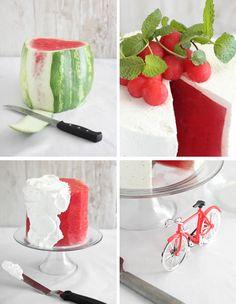 Fresh Watermelon Cake - funny twist for summer desserts Köstliche Desserts, Delicious Desserts, Yummy Food, Summer Desserts, Healthy Food, Watermelon Cake Recipe, Sweet Watermelon, Fruit Recipes, Dessert Recipes