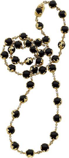Charles de Temple Black Onyx, Diamond, Gold Necklace