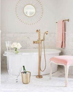nice White and Pink Bathroom with Pink Velvet Stool - Transitional - Bathroom