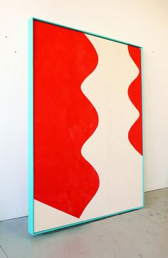 Sarah Crowner. The Wave, 2013, raw and painted canvas with wooden frame painted with oil