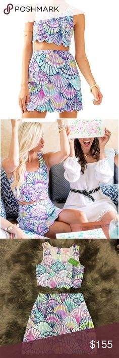 """NWT Lilly Pulitzer Cadden Crop Top and Skirt Set In serene blue """"Oh Shello""""  print. Hard to find pattern and style, sold out in stores! Price is for two piece set. Lilly Pulitzer Dresses Mini"""