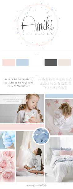 Amiki Children's Boutique logo design, Pastel Branding board, pink, blue, stars logo design, branding for kids logo, hearts and stars circle custom logo branding. Chic timeless script branding and colour inspiration board.
