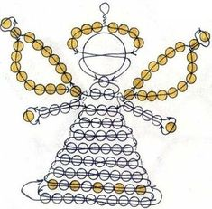 perles - Page 2 Angel Bead scheme: Beaded Christmas Decorations, Christmas Angel Ornaments, Beaded Ornaments, Pony Bead Crafts, Beaded Crafts, Pony Bead Patterns, Beading Patterns, Art Perle, Beaded Angels