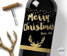 Holla Days Christmas Wine Label Merry Christmas by LolliBella