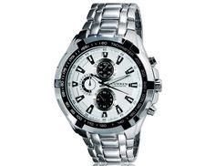 Fashion Round White Dial Analog Waterproof Sports Wrist Watch with Tungsten Steel Strap