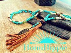 Boho tassel necklace native american hippie necklace by HonuHippie
