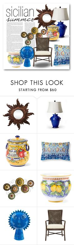 """""""Sicilian Summer"""" by ellenawaters ❤ liked on Polyvore featuring interior, interiors, interior design, home, home decor, interior decorating, Vietri, Frontgate, Southern Enterprises and Bitossi"""