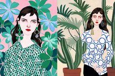 """Sou apaixonada pelo trabalho da ilustradora Bijou Karman's, especialista em retratar looks de marcas famosas com seus traços """"sedutores"""". Adoro essa vibração retrô característica de sua obra. Mulheres alongadas e exageradas, com detalhes como sardas e cabelos bagunçados, vestindo Gucci, Miu Miu, Marni, Proenza Schouler..."""