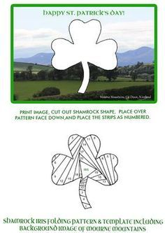 Shamrock Iris Folding on Mountains of Mourne Background on Craftsuprint designed by Margaret Jones - Another card to make for St. Patrick's Day showing my Shamrock Iris Folding template on a background picture of the Mountains of Mourne in County Down, Northern Ireland. - Now available for download!