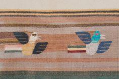 Vintage Mid Century Handwoven Tapestry - Wall Hanging, Wall Art, Birds, Pattern, Wool, Bird Design, Cream Tassels, MCM