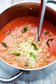 Tomato Basil Orzo Soup | Creme de la Crumb
