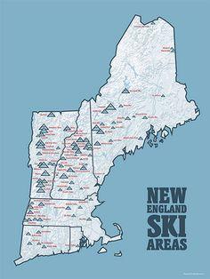 US Ski Resorts Map X Poster - Map of us ski resorts