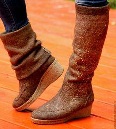 """Обувь ручной работы. Ярмарка Мастеров - ручная работа. Купить Сапоги-трансформеры валяные """"Грильяж"""". Handmade. Валенки, вискоза"""